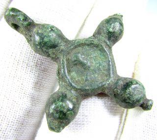 Viking Era Bronze Cross Pendant - Wearable - 1922 photo