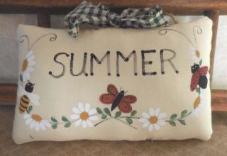 Primitive Folk Art Summer Pillow Sign Tuck Handpainted Ladybug Butterfly Bee photo