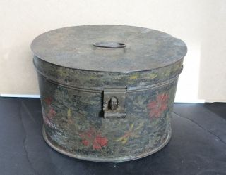 Antique Tin Toleware Hand Painted Cannister 19thc Aafa photo