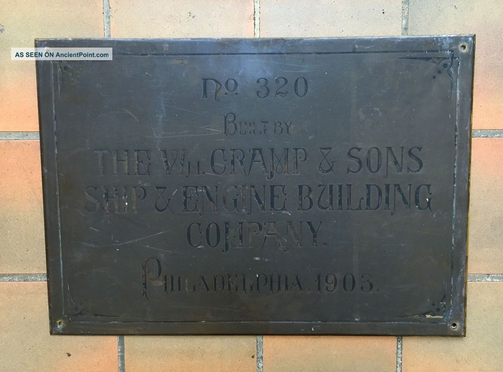 Antique Bronze Cramp & Sons Ship Building Co.  Shipyard Steamship Hull Id Plate Plaques & Signs photo