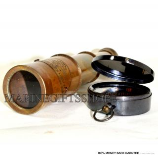 Nautical Vintage Maritime Brass 6  Pirates Spyglass Telescope With Brass Compa photo