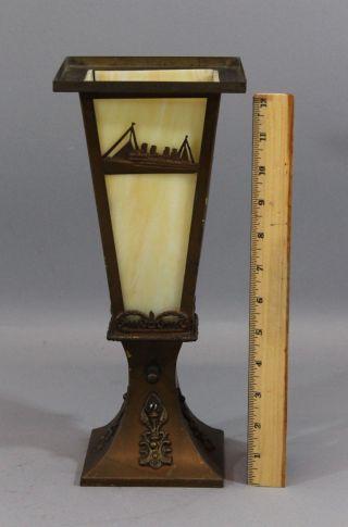Antique Early 20thc,  Ocean Liner,  Brass & Slag Glass Table Lamp,  Nr photo