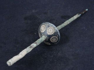 Ancient Stone Spindle With Bronze Rod Roman 100 Ad Gl1760 photo