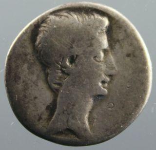 Octavian,  Denarius,  Silver,  Jupiter Terminus,  Thunderbolt,  Republic,  30 - 29 B.  C. photo