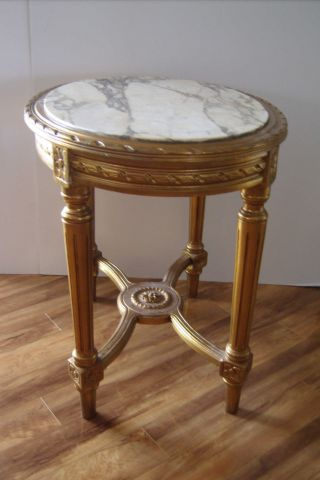 Antique Table:french Gilt Renaissance Revival Look W/ Marble Inset Top photo