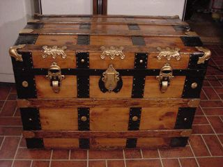 Ladycomet Refinished Flat Top Steamer Trunk Antique Chest With Key & Tray photo