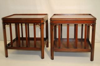 Great Chinese Chippendale Mahogany Sofa Side End Tables photo