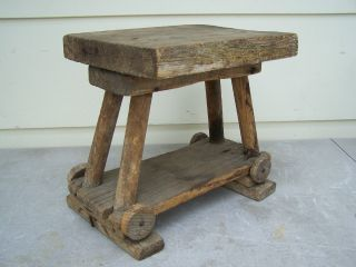 Antique Primitive Amish Gothic Medieval Wood Wooden Footstool Stool Bench Wheels photo