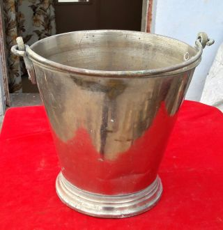 1900 ' S Antique Hand Crafted Brass Big Size Water Bucket,  Rich Patina photo