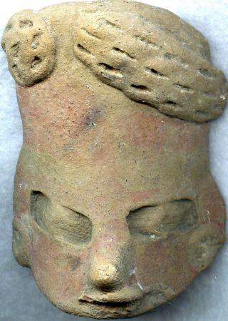 Pre - Columbian Aztec Mazapan Figure Head,  Ca; 800 - 1200 Ad photo