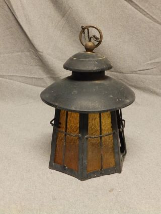 Vtg Copper Ceiling Porch Light Amber Stained Glass Old Parts Repair 403 - 16 photo