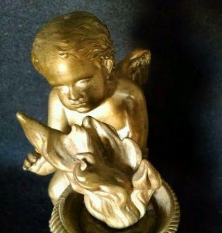 19th Century Gilded Bronze Putti Chenets,  Cherub Andirons,  Louis Xiv Style photo