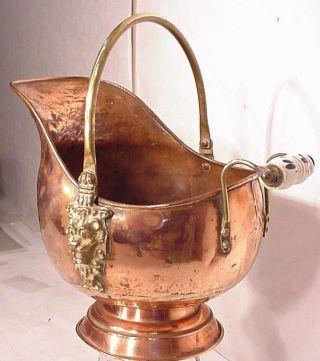 Copper Dutch Helmet Coal Ash Scutlle Bucket Delft Blue Handle Brass Lion Head photo