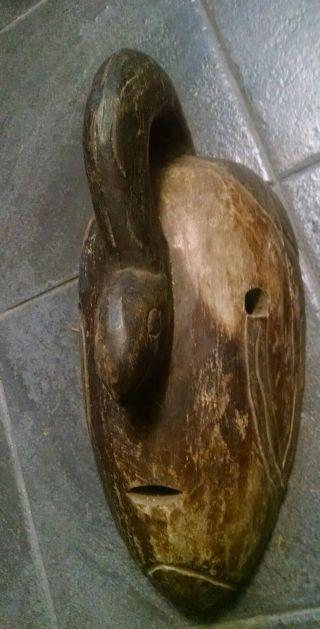 Vtg African Indonesian Asian Mask Face Wood Primitive Carved Mask Serpent Snake photo