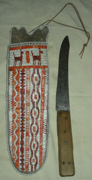 Antique C1880 Plains Native American Indian Quill Scabbard & Skinning Knife Vafo photo