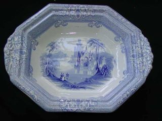 Antique 19thc English Blue & White Transferware Serving Bowl,  John Alcock photo