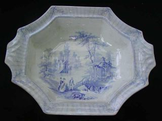 Antique 19thc English Blue & White Transferware Pearlware Serving Bowl,  Belvoir photo