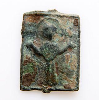 Ancient Icon Amulet Pendant.  Early Kievan Russ Viking Period.  1 - 3 Century Ad photo