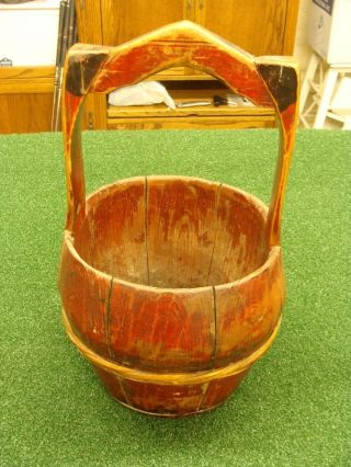 Brown Antique Wood Water Bucket Rustic Vintage Farm Pail Barn Garden photo