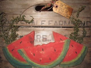Primitive Country Watermelon Crow Hanger Wreath Summer Tag Cupboard Red photo