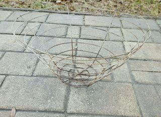 Vintage Antique Primitive Heavy Wire Metal Egg Tobacco Drying Basket photo