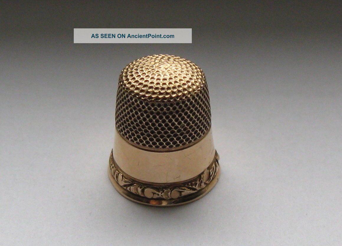 Antique 14 Kt Gold Child ' S Thimble By Stern Bros.  & Co.  Size 6 1908 - 1912 Thimbles photo