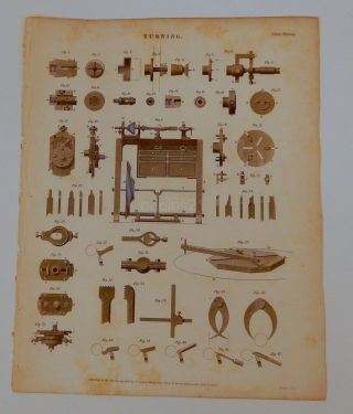 1820 Plate Turning Machinery Lathe Engineering 42 Figures Vintage Rees photo