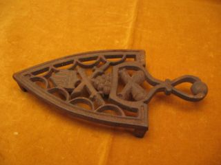 Antique Iron Trivet W/cannon ' S,  Balls,  Swords & A Shield - Very Good Cond. photo