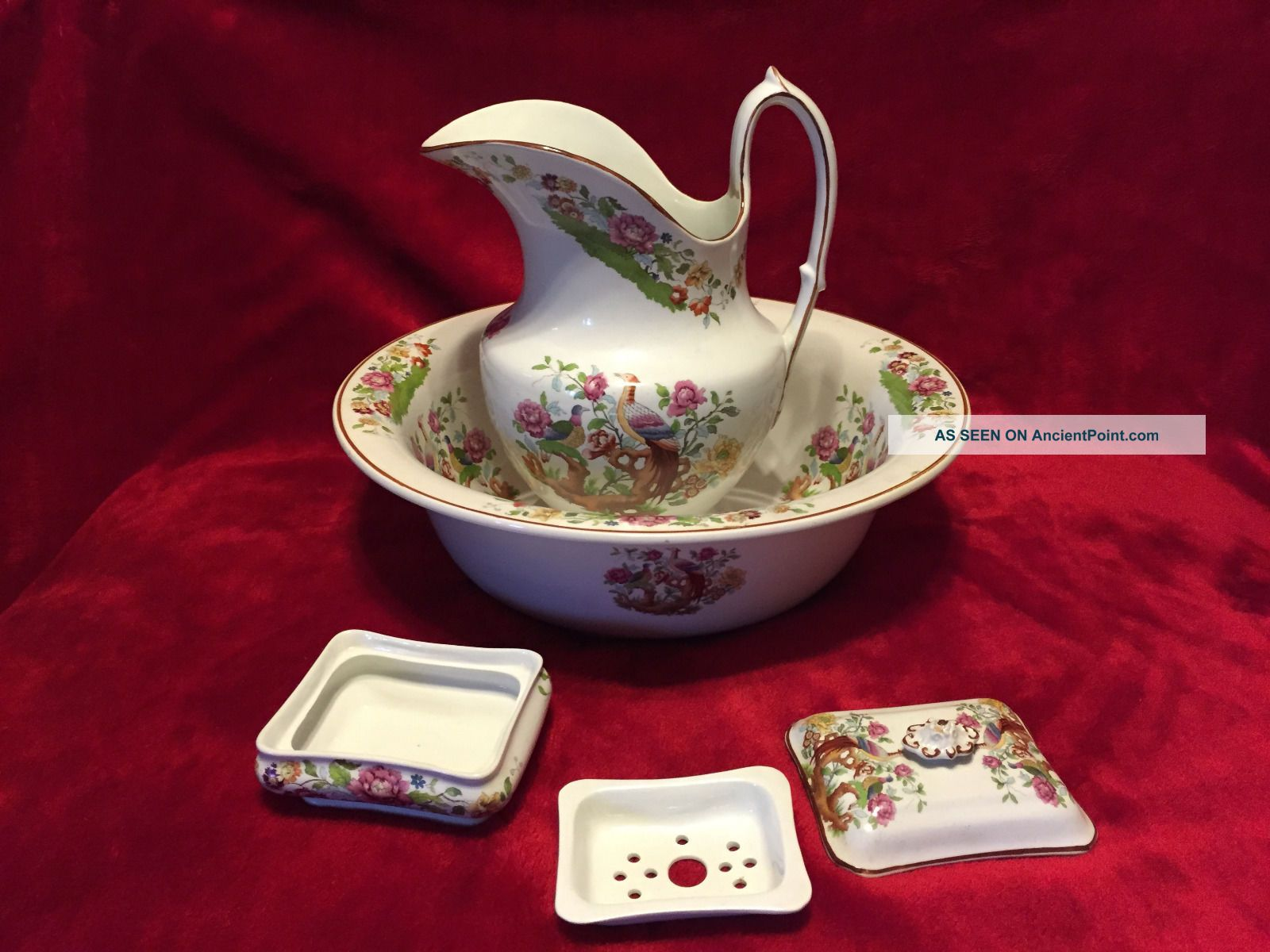 Vintage Wm.  Adams Made For Heal & Son Wash Bowl,  Pitcher,  And Covered Soap Dish Bath Tubs photo