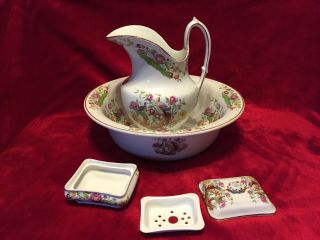 Vintage Wm.  Adams Made For Heal & Son Wash Bowl,  Pitcher,  And Covered Soap Dish photo
