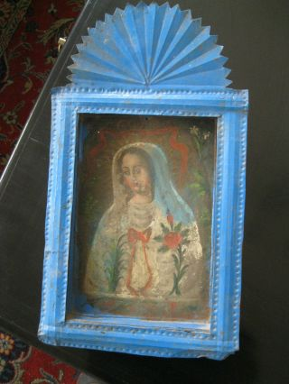 Antique Retablo On An Antique Tin Nicho Our Lady Of Peace photo