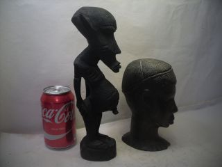 African Hand Carved Wood Figure & Head photo
