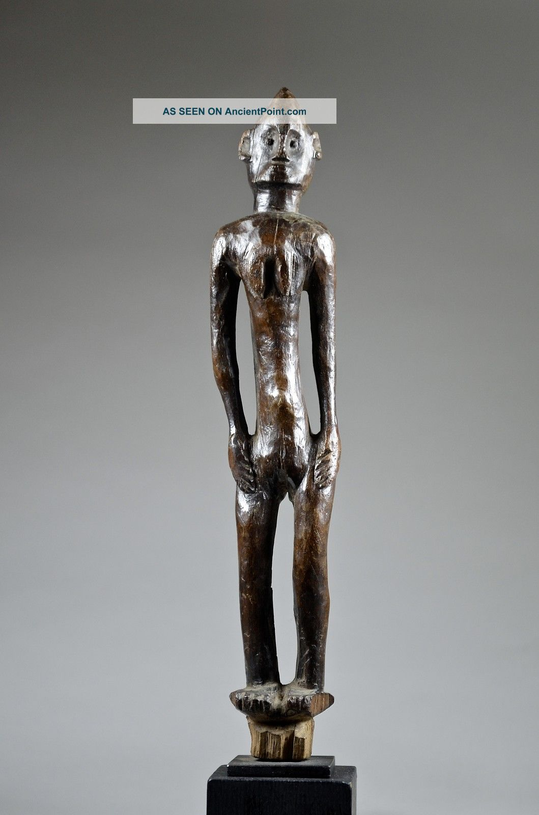 Elegant Tanzanian Female Figure On Stand - Artenegro Gallery African Tribal Arts Sculptures & Statues photo