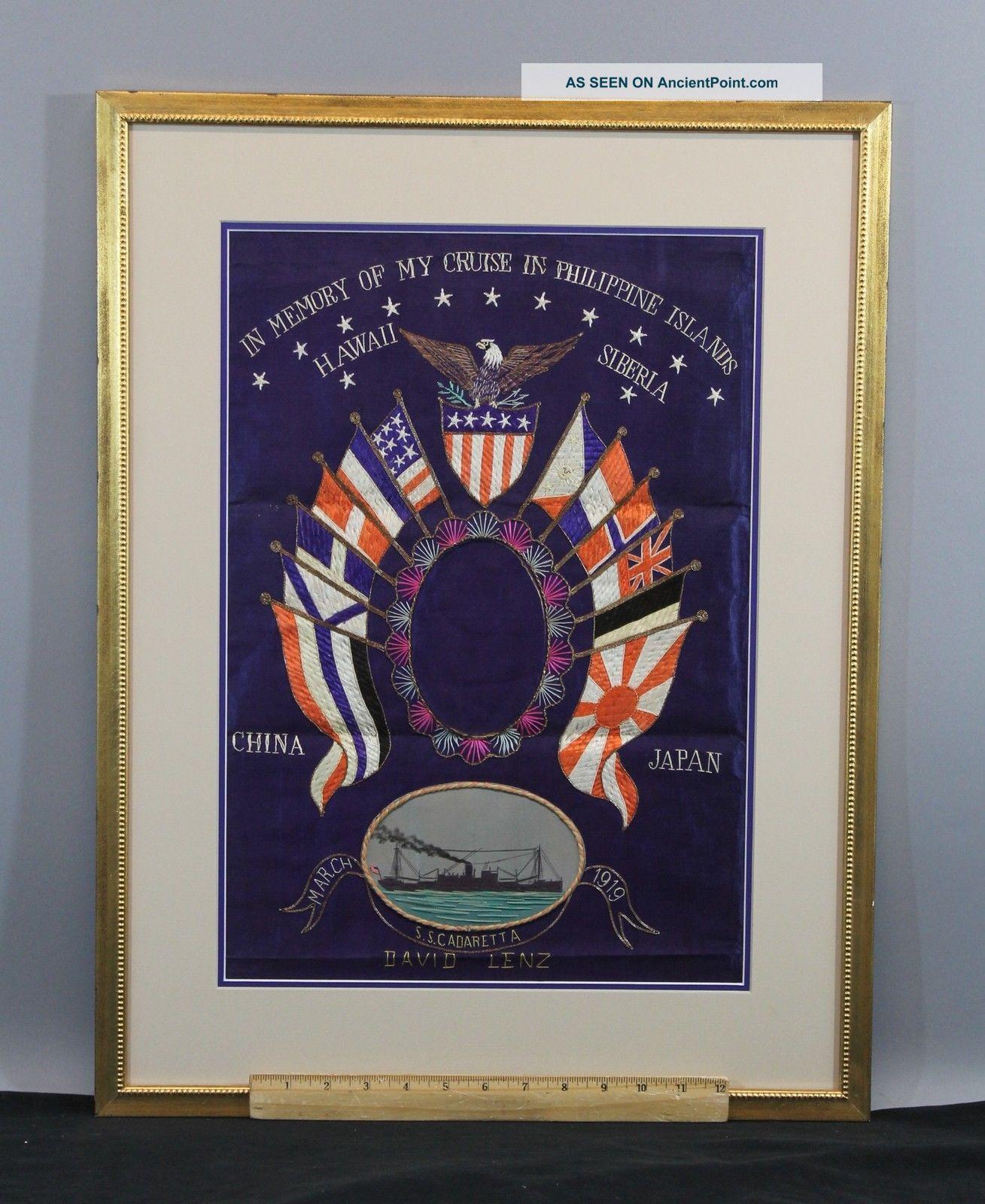 Antique Japanese Trapunto Silk Embroidery Us Navy American Flag & Eagle Nr Folk Art photo