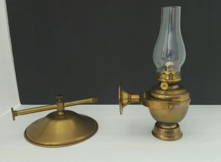 Perko Vintage Nautical Brass Oil Lamp With Brass Hood -