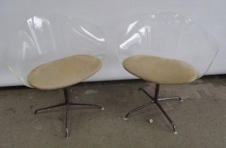 2 Mid Century Modern Clear Acylic Lucite Chairs Eames Laverne Era Chairs photo