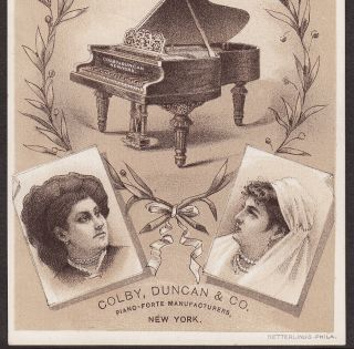 Colby,  Duncan & Co Piano - Forte Manufacturer York City Advertising Trade Card photo