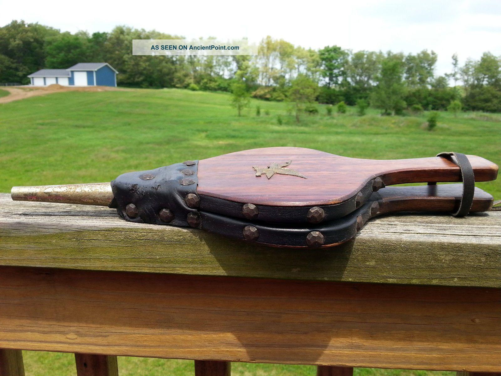 Vtg Antique Eagle Emblem Fireplace Leather Wood Bellow Hand Pimp Air Ash Blower Hearth Ware photo
