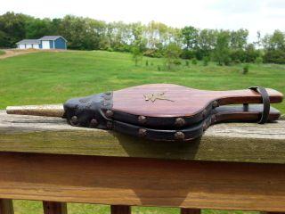 Vtg Antique Eagle Emblem Fireplace Leather Wood Bellow Hand Pimp Air Ash Blower photo