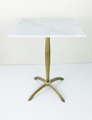 Vintage Hollywood Regency Italy Marble & Gold Pedestal End Table Plant Stand photo