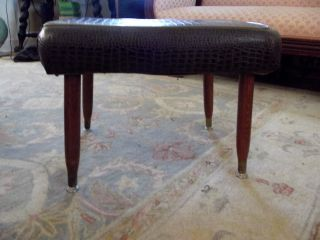 Mid Century Modern Footstool W/moc Croc Upholstery Awesome photo