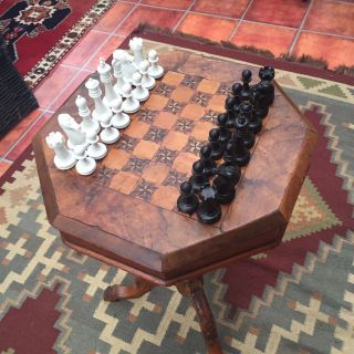 Antique Victorian Walnut? Trumpet Sewing Table Chess Board photo