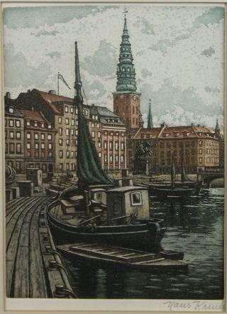Antique Pencil Signed Hans Kruuse Danish Boat Harbor Colored Etching Print Nr photo