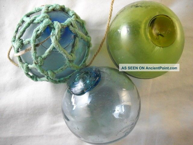 3 Vintage Japanese Glass Floats With Different Colors In The Seal Fishing Nets & Floats photo