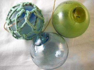3 Vintage Japanese Glass Floats With Different Colors In The Seal photo