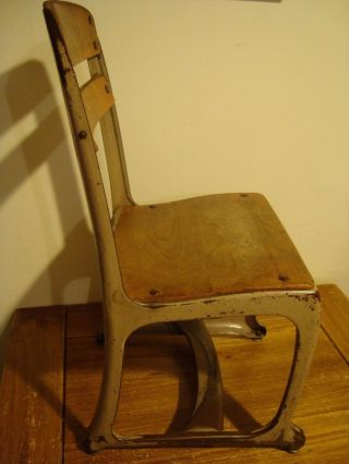 Antique 1940 ' S Student Chair Wooden & Metal Envoy (american Seating Co. ) U.  S.  A. photo