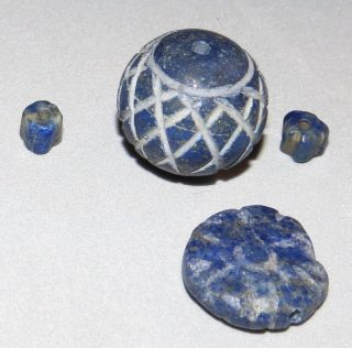 Ancient - Antique Lapis Lazuli Beads Etched Middle Eastern,  Patina photo