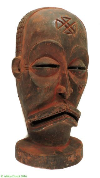 Chokwe Mask Mwana Pwo Red Face Congo African Art 18 Inch photo