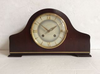 Germany Vintage Junghans Gong Wood Case Mantel Clock, photo