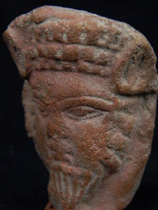 Ancient Teracotta Head Bactrian C.  300 Bc Tr15169 photo